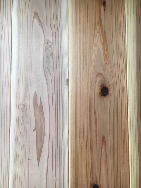 塗布前と後の床
