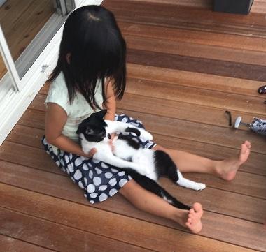ウッドデッキに座る娘と猫