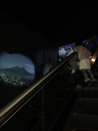 鹿児島ならではの景色が映し出されるエスカレーター