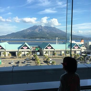 桜島が見える休憩コーナー