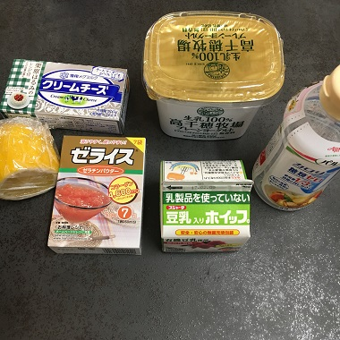 レアチーズケーキの材料