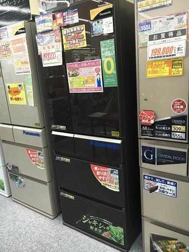 店頭のPanasonicの冷蔵庫