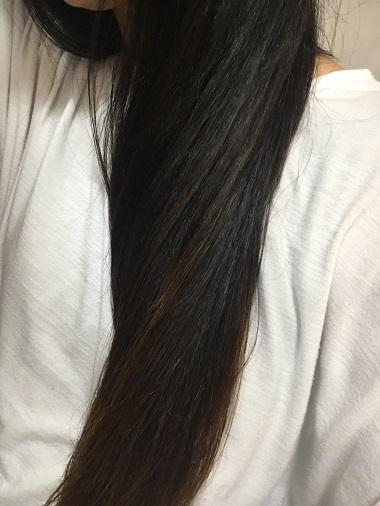乾燥途中の髪