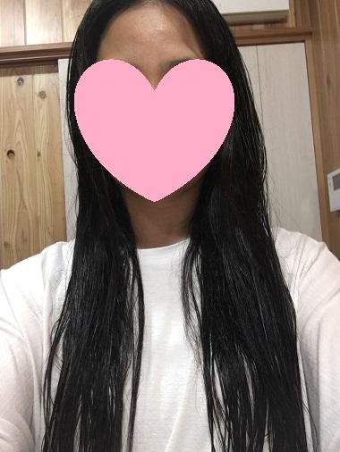 塗布後の髪
