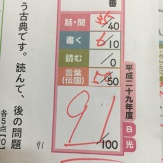 91点の国語のテスト