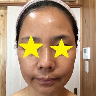 UV乳液をなじませた私の顔